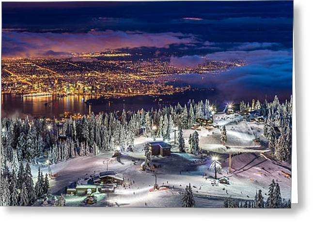 Vancouver City Panorama From Grouse Mountain  Greeting Card by Pierre Leclerc Photography