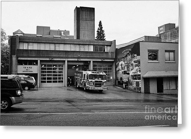 Vancouver Fire Rescue Services Truck Engine Outside Hall 2 In Downtown Eastside Bc Canada Greeting Card