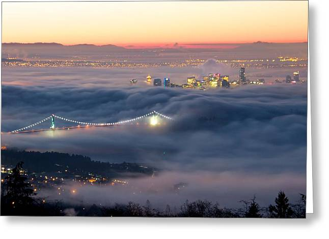 Vancouver Fog Greeting Card by Scott Holmes