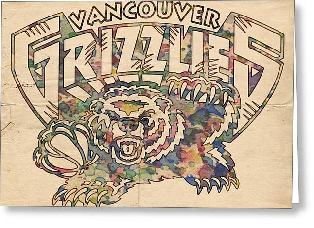 Vancouver Grizzlies Retro Poster Greeting Card by Florian Rodarte