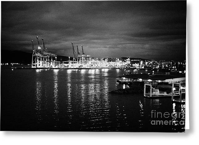 Vancouver Metro Port Container Terminal At Night Bc Canada Greeting Card by Joe Fox