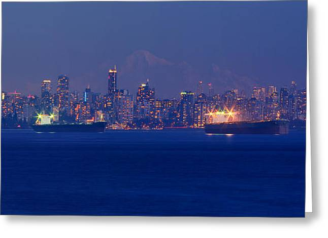 Vancouver Skyline At Sunset Greeting Card