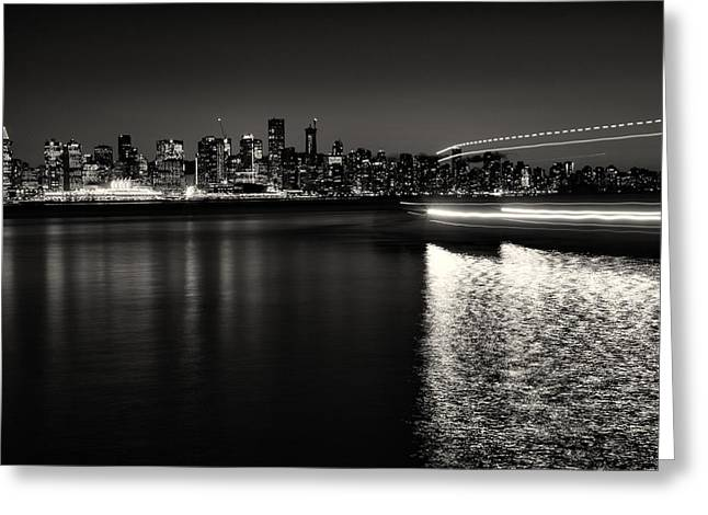 Vancouver Skyline In Black And White Greeting Card by Monte Arnold