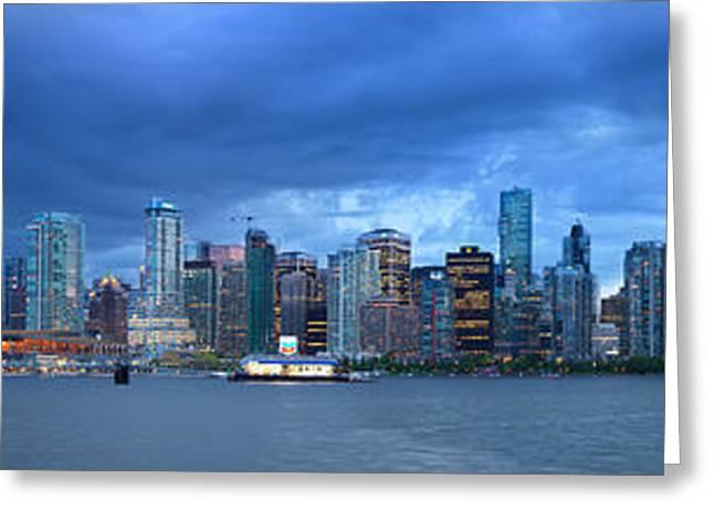 Vancouver Skyline Panoramic At Night Greeting Card