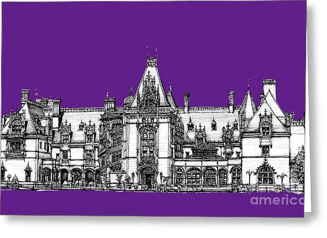 Vanderbilt's Biltmore In Purple Greeting Card by Adendorff Design