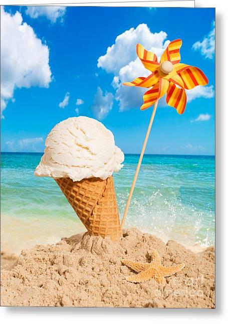 Vanilla Icecream Greeting Card by Amanda Elwell