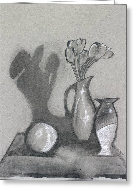 Greeting Card featuring the mixed media Vanishing Vase by Artists With Autism Inc
