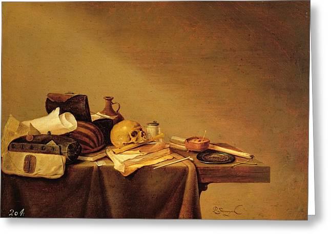Vanitas Or, Emblem Of Death Oil On Canvas Greeting Card by Pieter van Steenwyck
