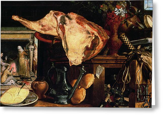 Vanitas Still Life Greeting Card by Pieter Aertsen