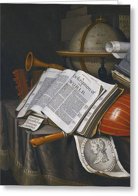 Vanitas Still Life With An Upturned Lute Greeting Card