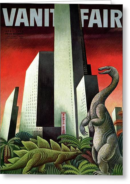 Vanity Fair Cover Featuring A City With A Jungle Greeting Card by Miguel Covarrubias