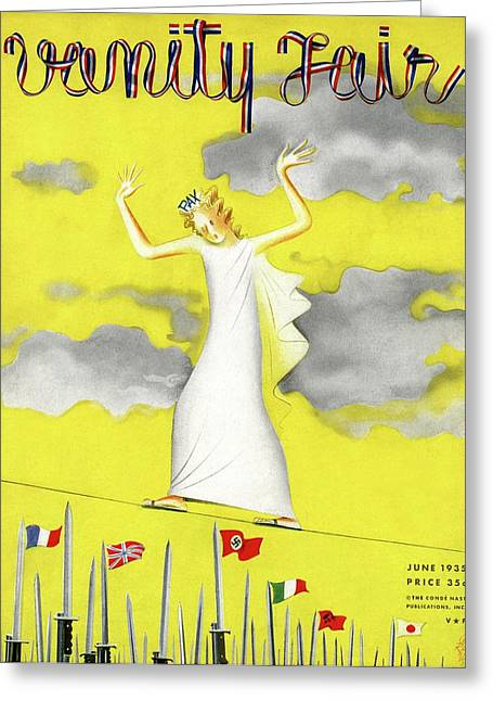 Vanity Fair Cover Featuring A Female Figure Greeting Card by Paolo Garretto