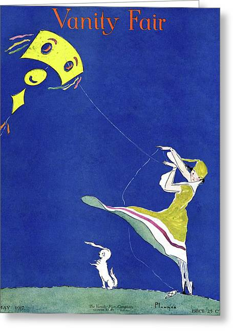 Vanity Fair Cover Featuring A Woman Flying A Kite Greeting Card by Ethel Plummer