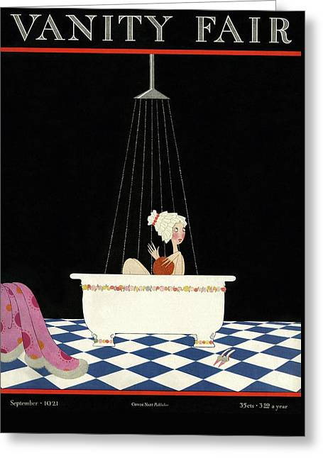 Vanity Fair Cover Featuring A Woman In A Bathtub Greeting Card by A. H. Fish