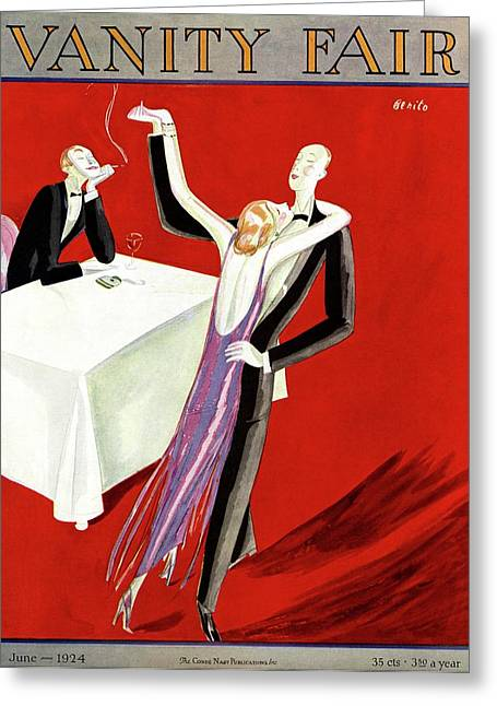 Vanity Fair Cover Featuring An Elegant Couple Greeting Card by Eduardo Garcia Benito