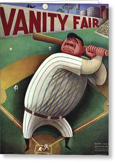Vanity Fair Cover Featuring Babe Ruth Greeting Card by Miguel Covarrubias