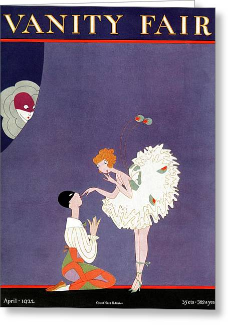 Vanity Fair Cover Featuring Dancers Flirting Greeting Card by A. H. Fish