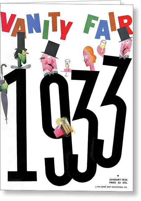 Vanity Fair Cover Featuring People Celebrating Greeting Card by Frederick Chance