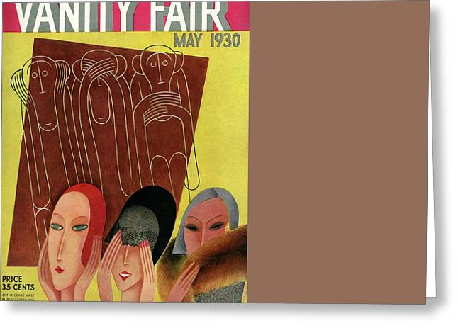 Vanity Fair Cover Featuring Three Monkeys Greeting Card by Miguel Covarrubias