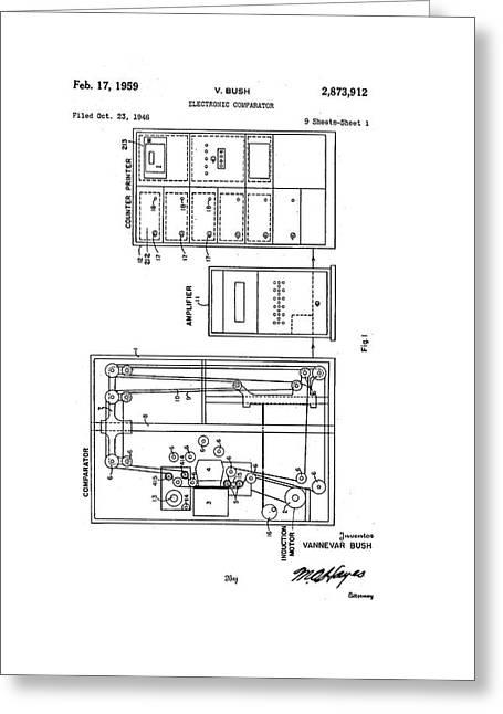 Vannevar Bush Comparator Patent Greeting Card