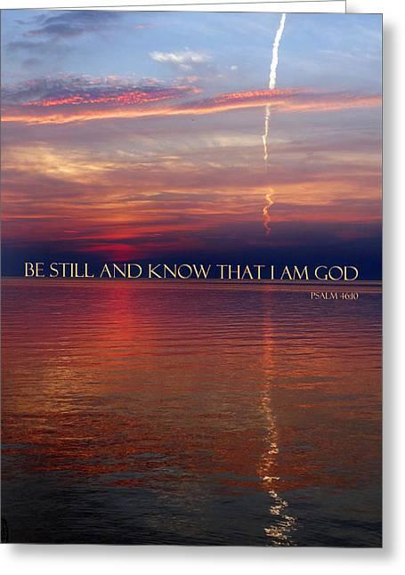 Vapor Trail Sunset - Psalm 46 Greeting Card by David T Wilkinson