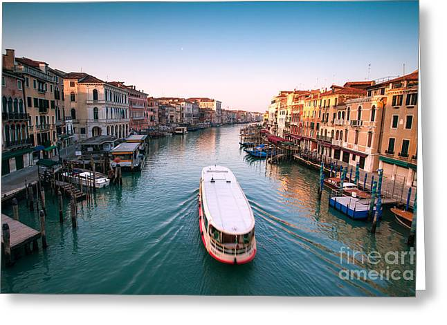 Vaporetto On The Grand Canal - Venice Greeting Card by Matteo Colombo