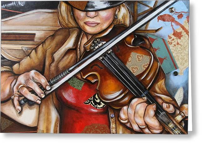 Vaquera De The Fiddle Greeting Card