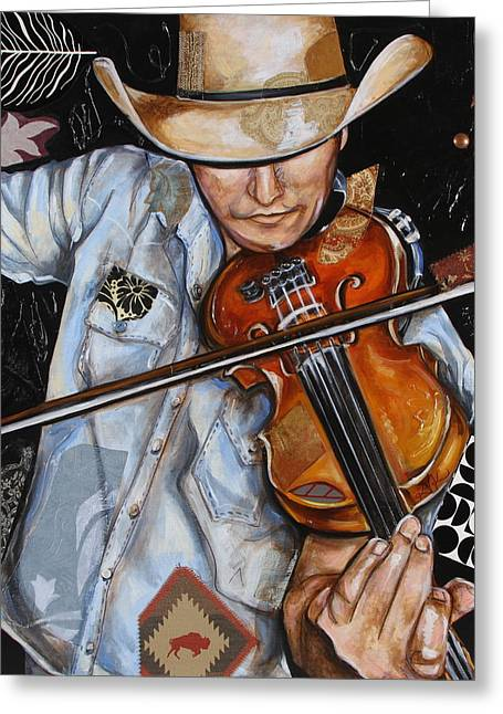 Vaquero De The Fiddle Greeting Card