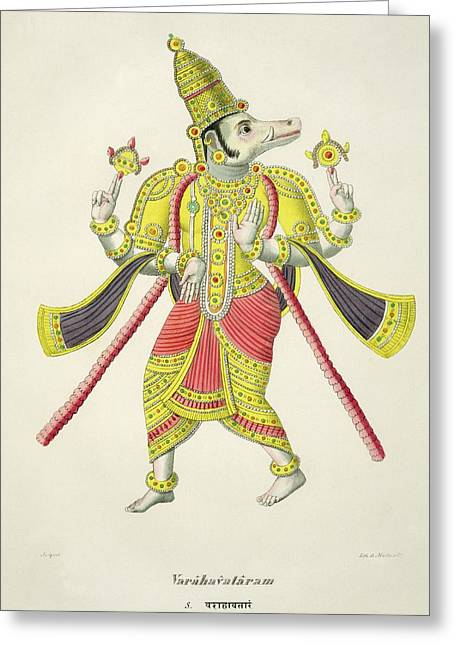 Varaha, Engraved By De Marlet Greeting Card by French School