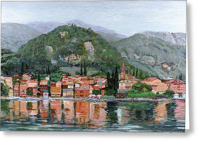 Varenna, Lake Como, Italy, 2004 Oil On Canvas Greeting Card by Trevor Neal