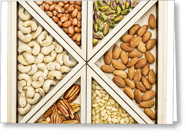 Variety Of Nuts Abstract Greeting Card by Marek Uliasz