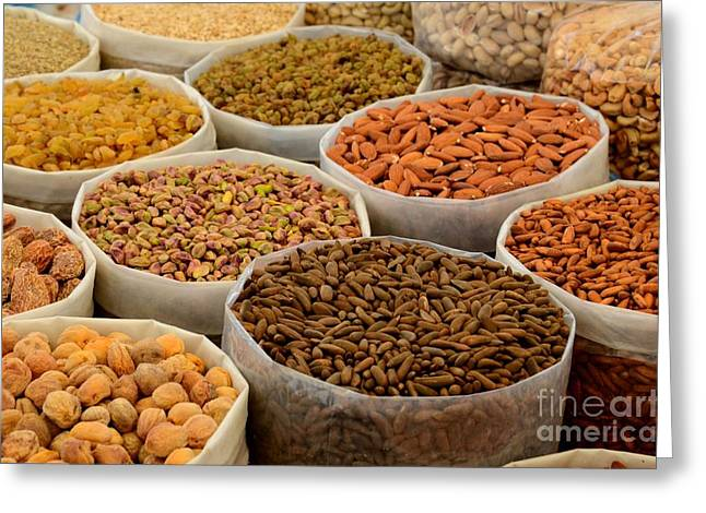Variety Of Raw Nuts For Sale At Outdoor Street Market Karachi Pakistan Greeting Card