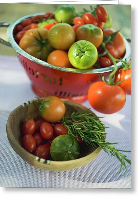 Various Types Of Tomatoes In Wooden Bowl And Colander Greeting Card