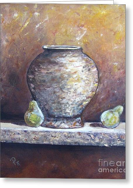 Vase And Pears Greeting Card