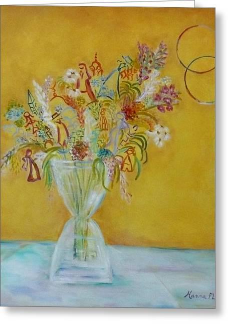 Vase Flowers Greeting Card by Hanna Fluk