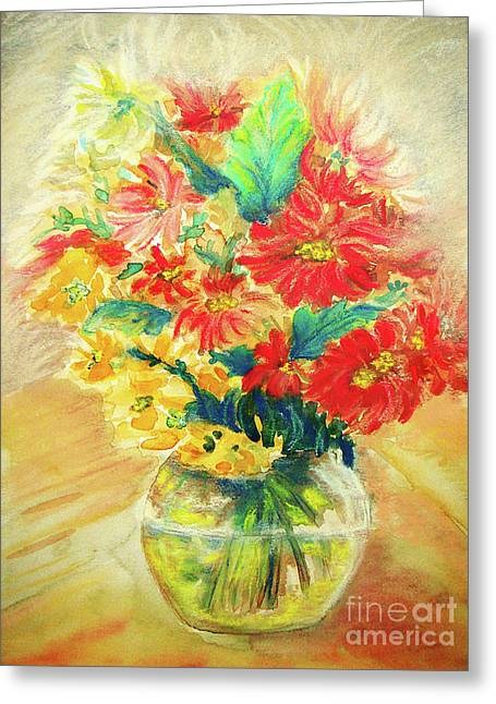 Greeting Card featuring the painting Vase by Jasna Dragun
