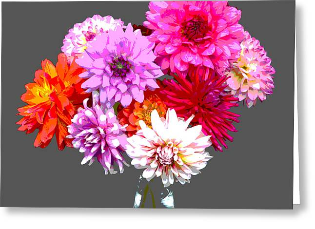 Vase Of Bright Dahlia Flowers Posterized Greeting Card by Rosemary Calvert