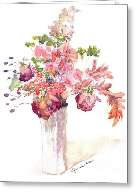 Vase Of Dried Flowers Greeting Card
