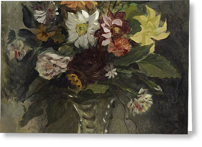 Vase Of Flowers, 1833 Greeting Card by Ferdinand Victor Eugene Delacroix