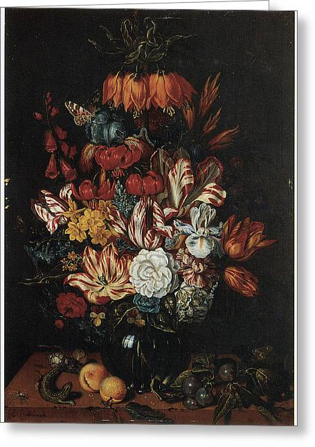 Vase Of Flowers Greeting Card by Abraham Bosschaert