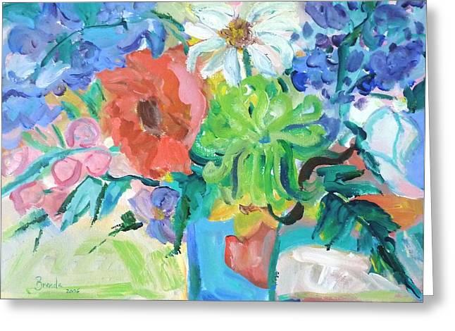 Vase Of Flowers Greeting Card by Brenda Ruark
