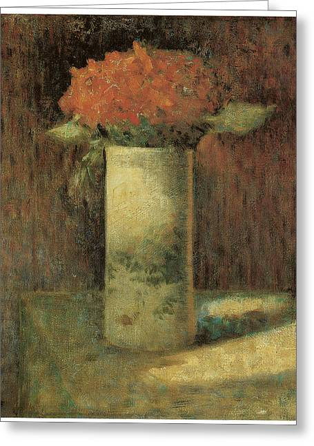 Vase Of Flowers Greeting Card by Georges Seurat