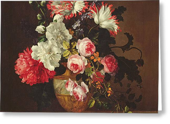 Vase Of Flowers Greeting Card by Gerard van Spaendonck