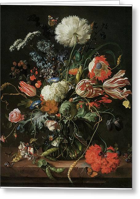 Vase Of Flowers Greeting Card by Jan Davidsz De Heem