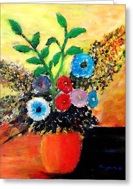Vase Of Flowers Greeting Card by Mauro Beniamino Muggianu