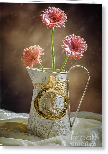 Vase Of Gerbera Flowers Greeting Card