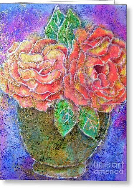 Vase Of Rises Greeting Card by Dion Dior