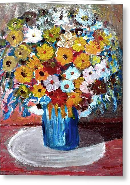 Vase Of Spring Greeting Card by Mauro Beniamino Muggianu