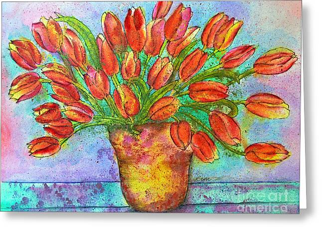 Vase Of Tulips Greeting Card by Dion Dior