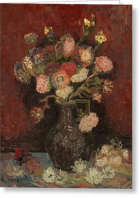 Vase With Autumn Asters Greeting Card by Vincent van Gogh